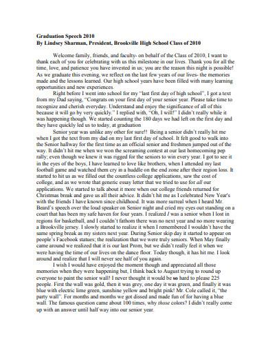 graduation speech essay template