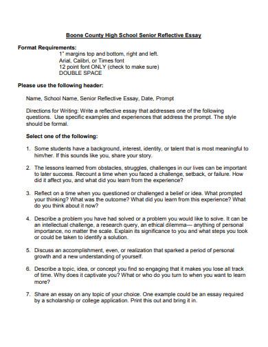 high school senior reflective essay