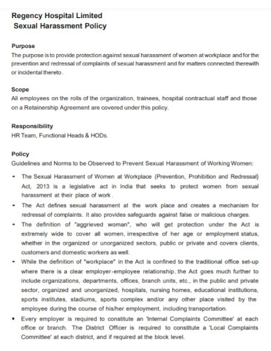 hospital sexual harassment policy
