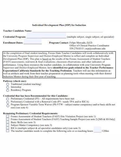 individual development plan for teachers