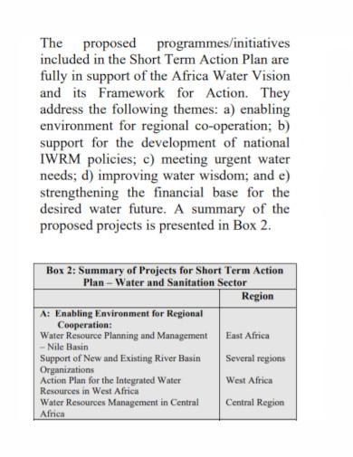 infrastructure short term action plan