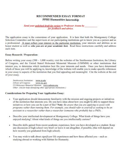 internship application essay