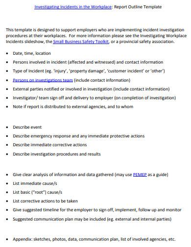 investigation incident report outline