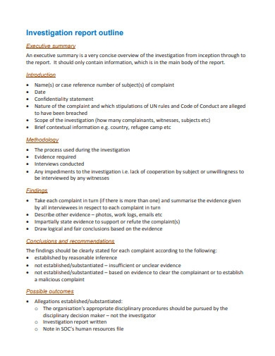 investigation report outline template