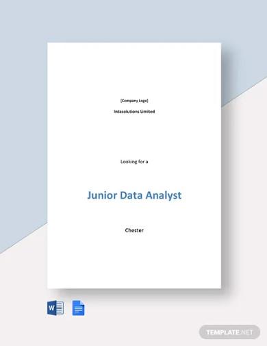 junior data analyst job description template