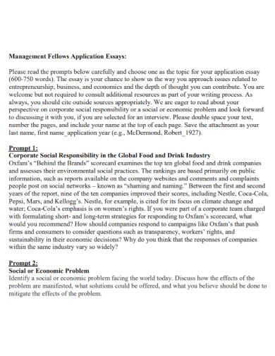 management fellows application essays