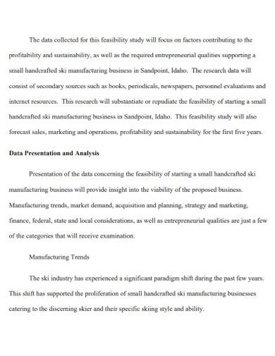 manufacturing business feasibility report