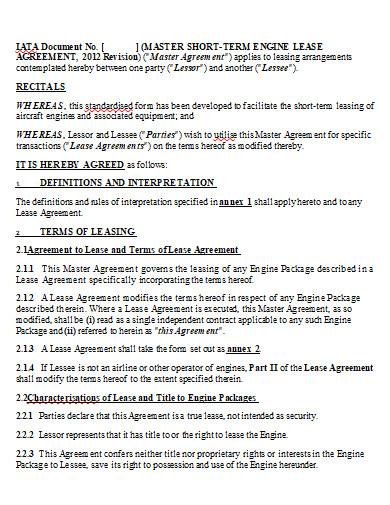 master short term engine lease agreement