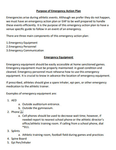 middle school emergency action plan