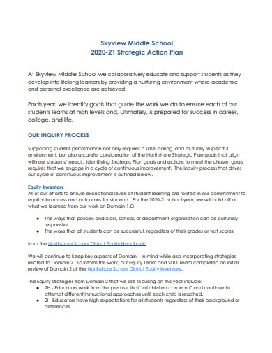 middle school strategic action plan