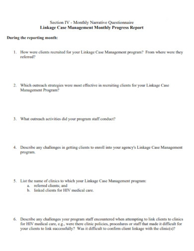 monthly narrative report questionnaire