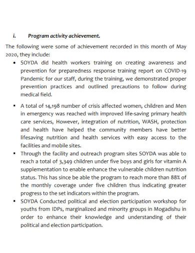 monthly progressive narrative reports