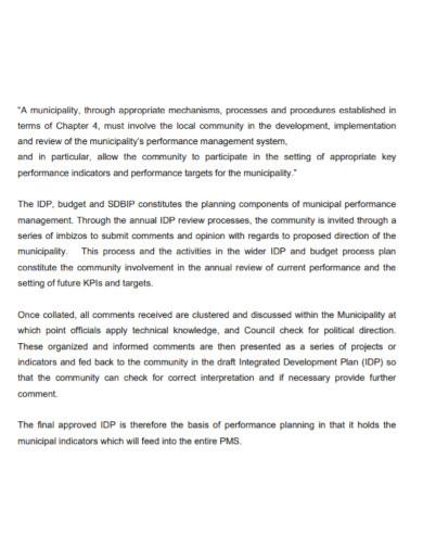 municipality performance management report
