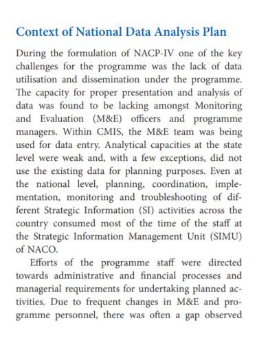 national data analysis plan