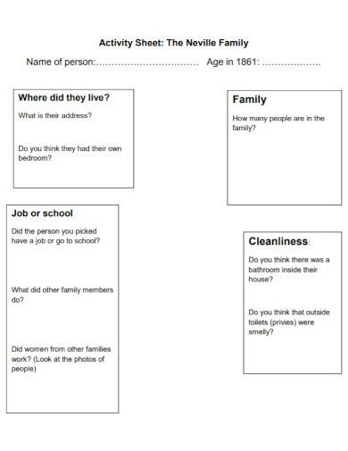 neville family activity sheets