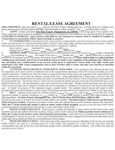 new rental lease agreement template