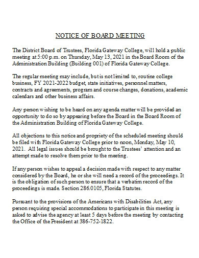 notice of board meeting in doc
