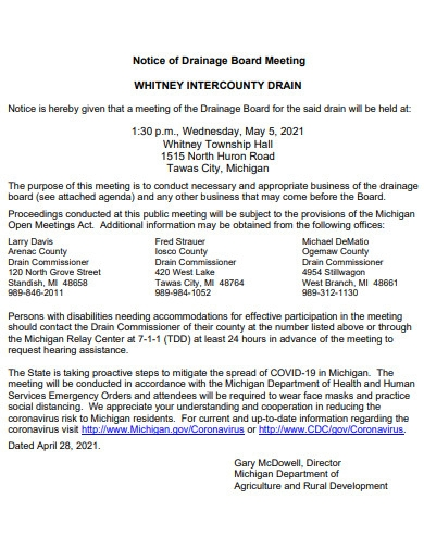 notice of drainage board meeting