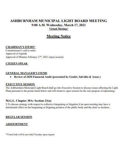 notice of municipal board meeting