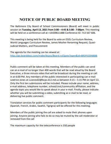 notice of public board meeting