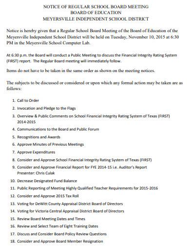 notice of school board meeting