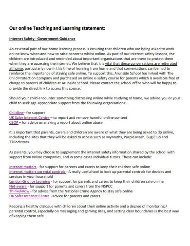 online teaching and learning statement
