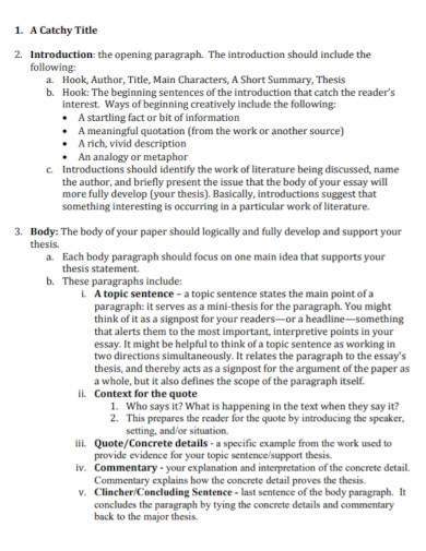 outline structure for literary essay