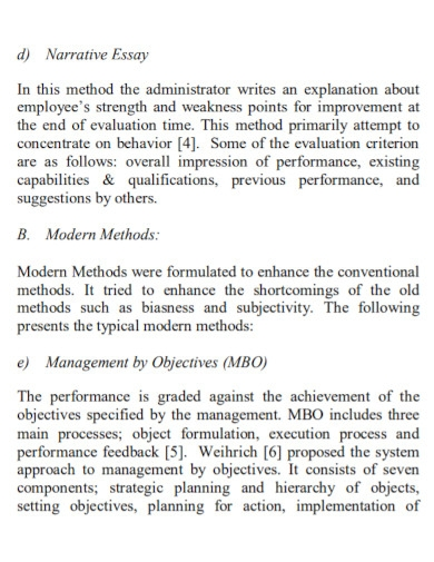 performance evaluation narrative essay