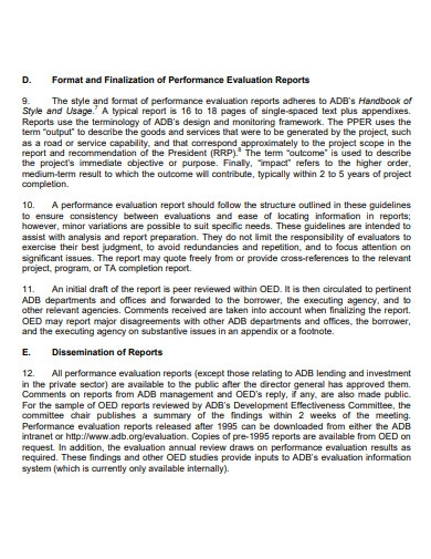 performance evaluation report for public sector
