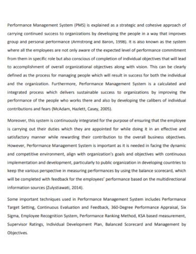 performance management internship report