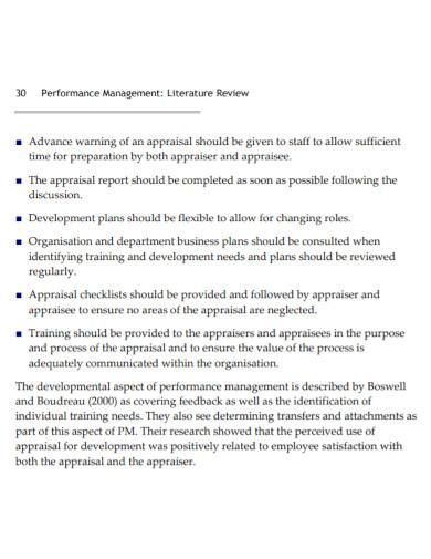 performance management literature report