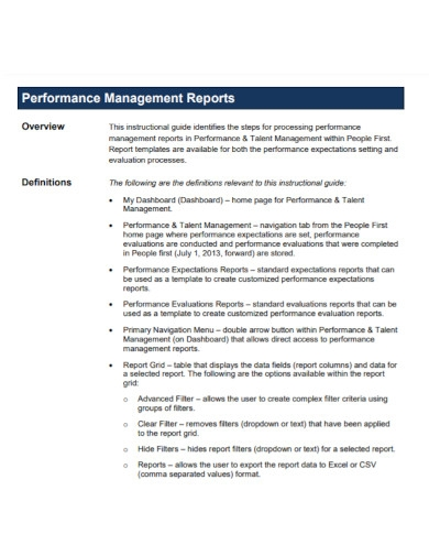 performance management report template