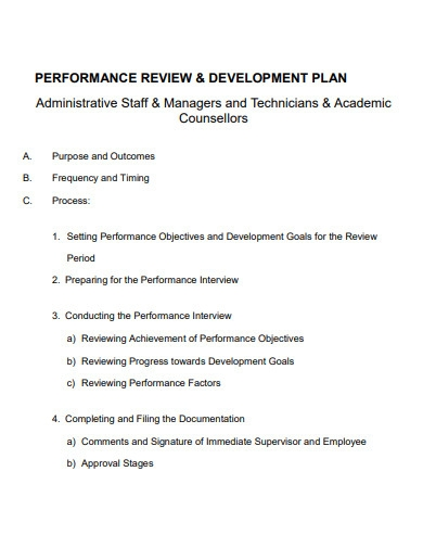 performance review and development plan