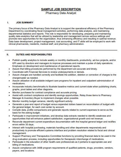 pharmacy data analyst job description