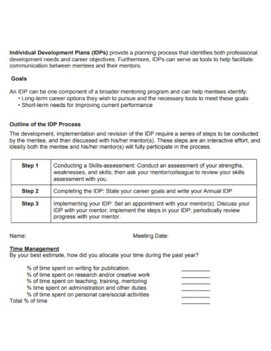 post doctoral career development plan for students