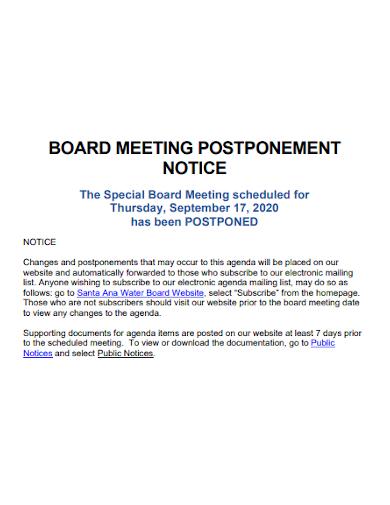 printable notice of board meeting