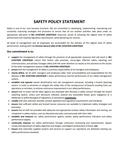 printable safety policy statement
