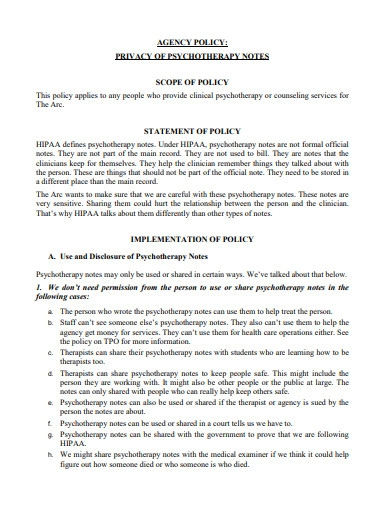 privacy of psychotherapy note