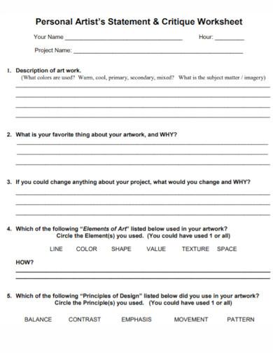 professional artist statement worksheet