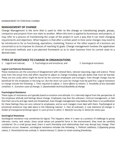 project change management strategy