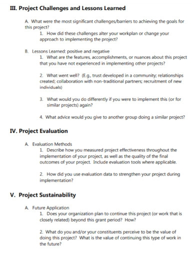 project evaluation report outline