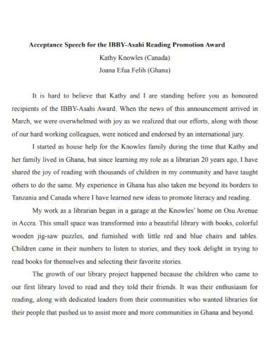 promotion award acceptance speech
