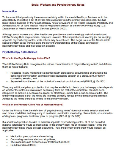 psychotherapy note example