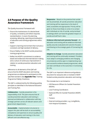 quality assurance training plan
