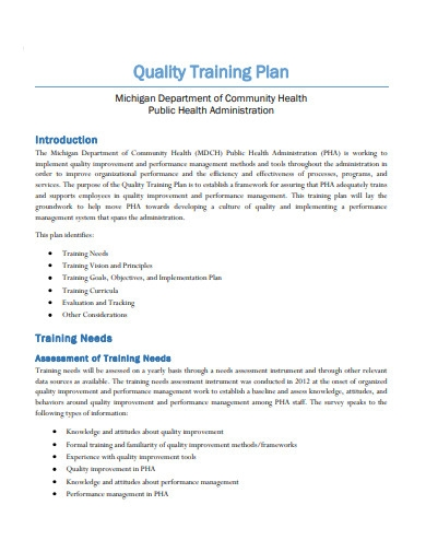 quality training plan template