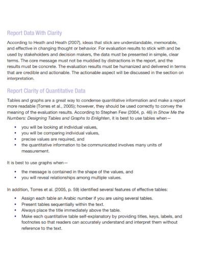 quantitative evaluation report outline