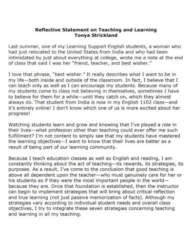 reflective statement on teaching