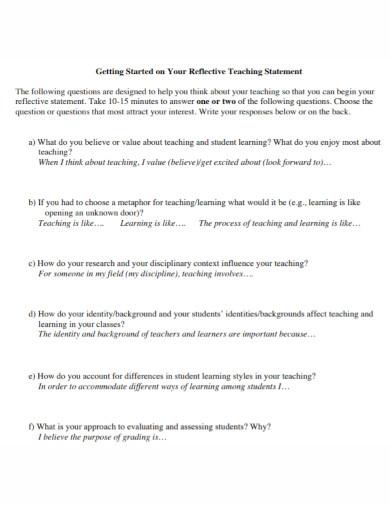 reflective teaching statement template