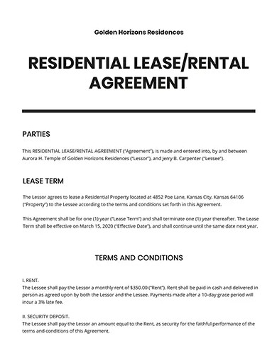 rental agreement or residential lease templates