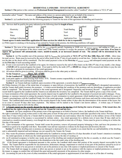 residential landlord tenant rental agreement